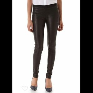 Theory Stretch Lambskin Leather Pant, Size 0